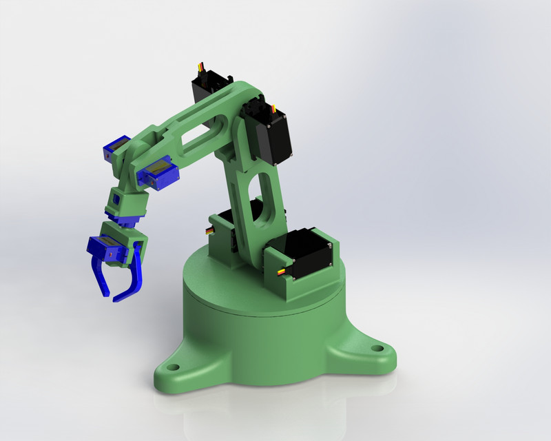 3D Printed robotic arm with gripper | 3D CAD Model Library | GrabCAD