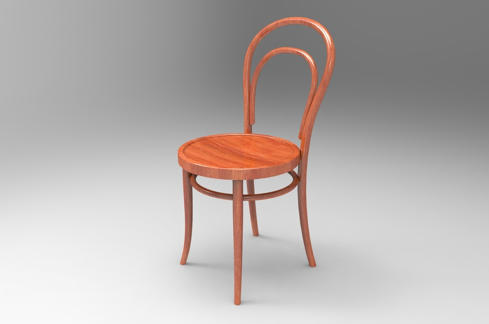 thonet nr 14 bentwood chair step 3d cad model grabcad