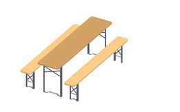 set of trestle table and benches - beer drinking