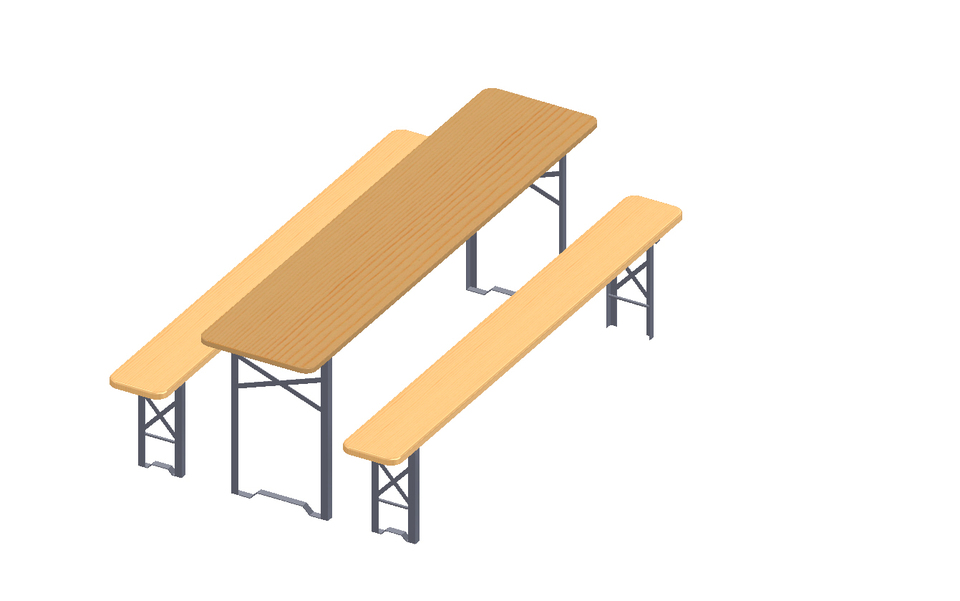 set of trestle table and benches - beer drinking | 3D CAD Model ...