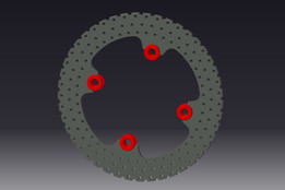 Motorcycle drilled Rear brake Rotor with Ducati style floating buttons