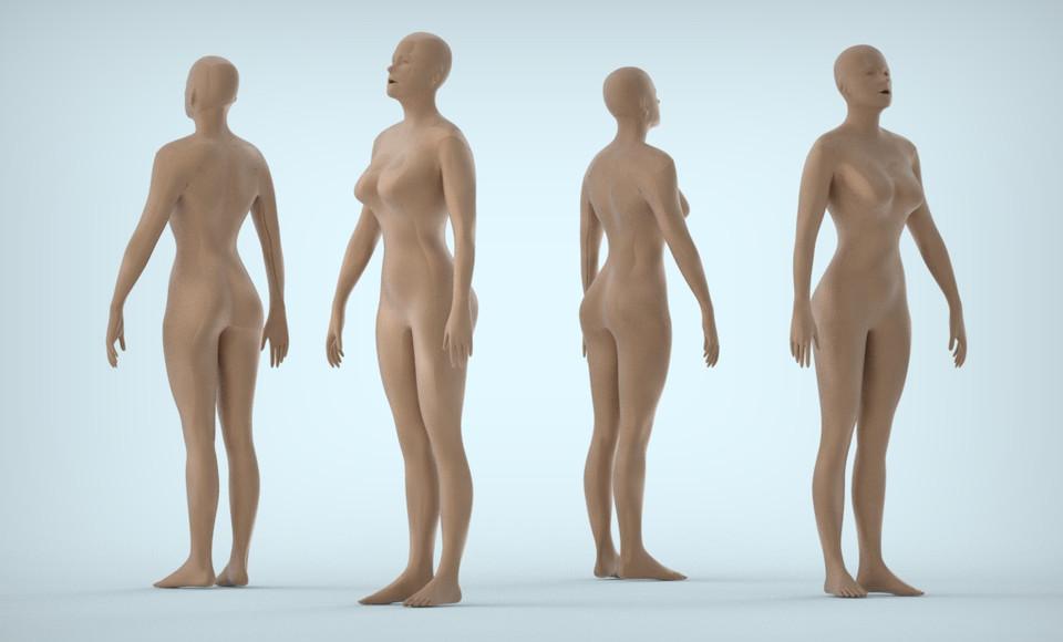 Работа 3d девушка модель в solidworks одежда модных дизайнеров