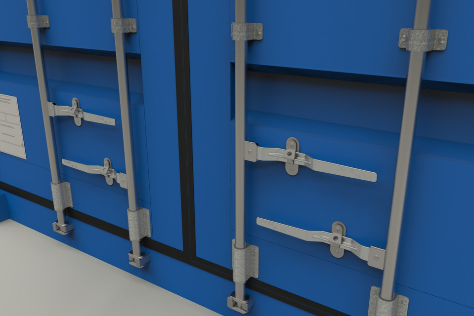 Cargo shipping container step iges 3d cad model - Pasadores para puertas ...
