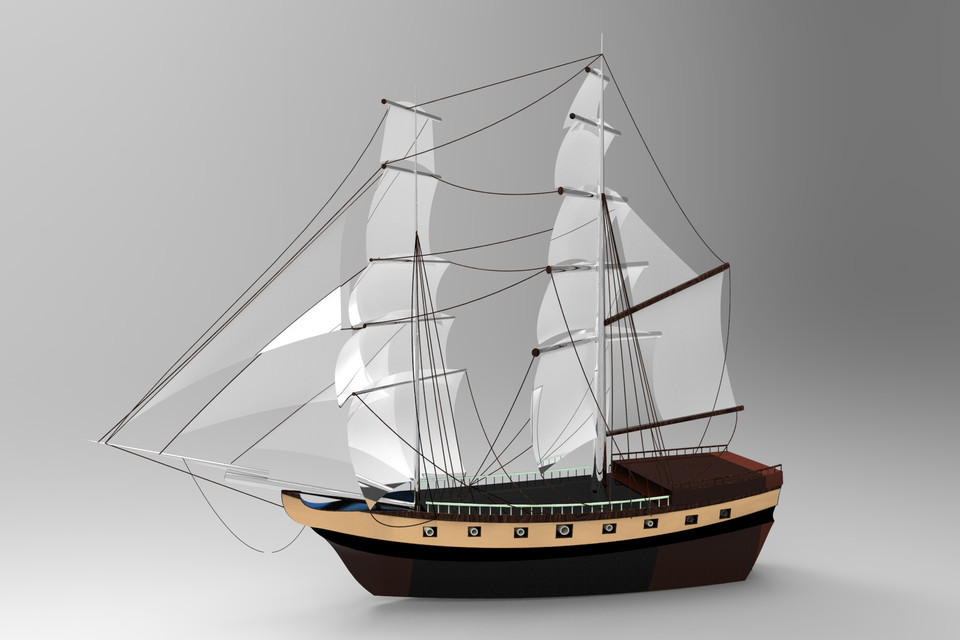 Pirate's ship (yacht) | 3D CAD Model Library | GrabCAD
