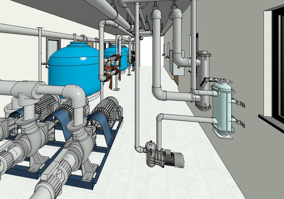 Swimming pool plant room 3d cad model library grabcad for Swimming pool management software
