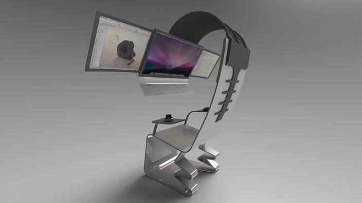 Hi Tech Chair STL STEP IGES SOLIDWORKS 3D CAD Model GrabCAD
