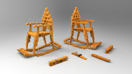 Rocking Chair Model (Made Of Wooden Clothes Pegs)
