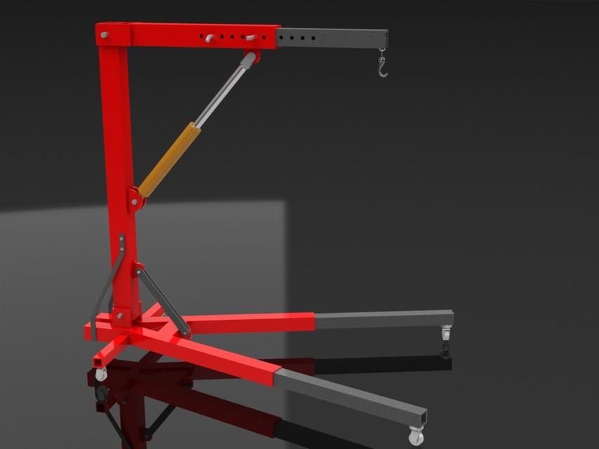 Engine Lift Arms : Engine crane d cad model library grabcad