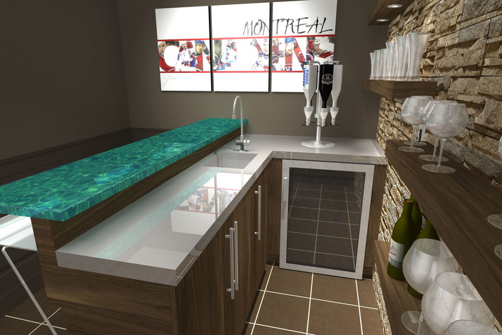 private sport bar at the basement level step iges 3d cad model