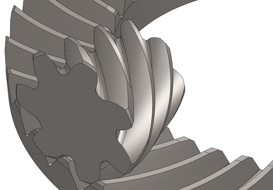35:7 ratio hypoid gear set with tooth contact localization | 3D CAD