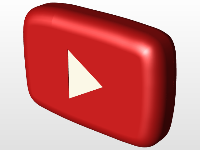 Youtube Logo Solidworks 3d Cad Model Library Grabcad