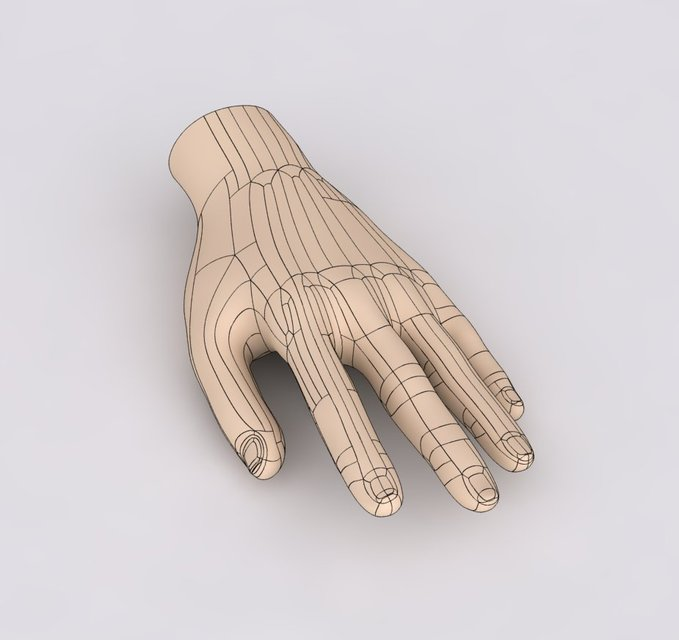 Human hand step iges autodesk inventor solidworks 3d for 3d model viewer