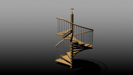 caracole, wooden spiral staircse