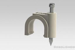 Coax cable clamp with nail.