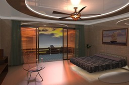Design of a room interior with balcony.