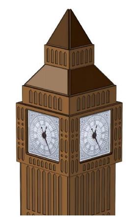 """Книжный стеллаж со встроенными часами """"Башня BIG BEN"""""""