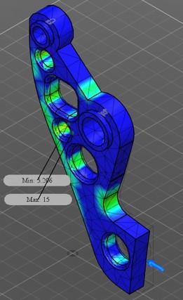 Autodesk Robot Gripper Arm Design Challenge Entry 03 35.26 Kg, Min. FOS= 5.21