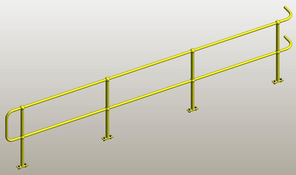 Industrial Hand railing  | 3D CAD Model Library | GrabCAD
