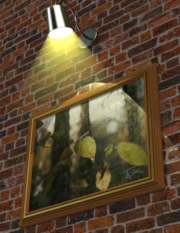 Spotlighted Frame on Brick Wall