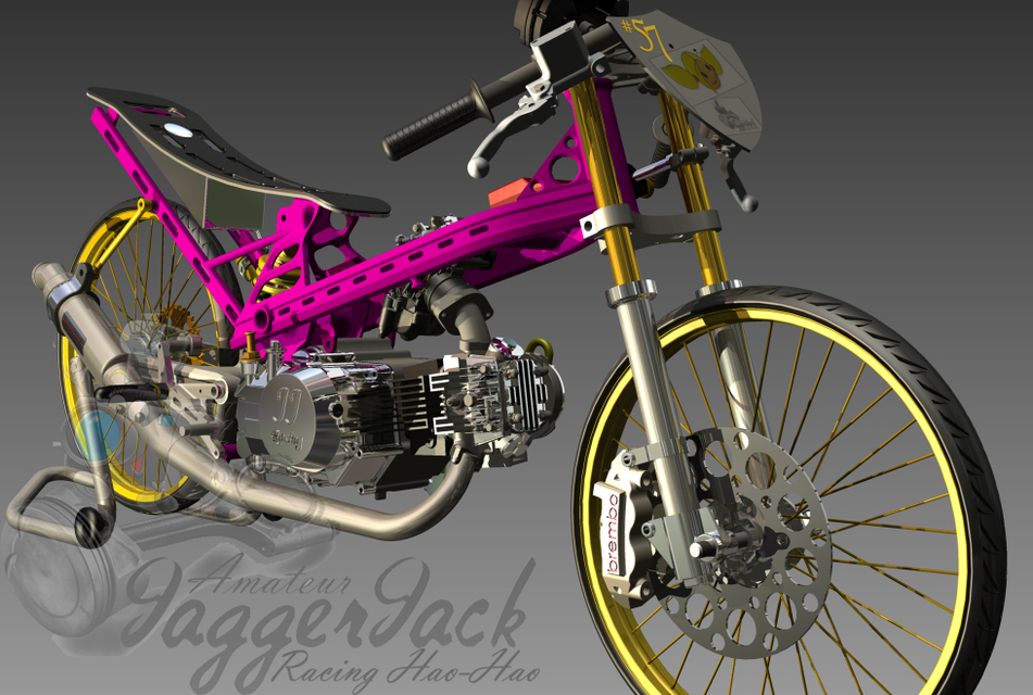 honda C100 drag bike kuztom frame | 3D CAD Model Library | GrabCAD