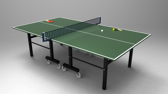 Table tennis ping pong table stl step iges solidworks 3d cad model - Table ping pong prix ...