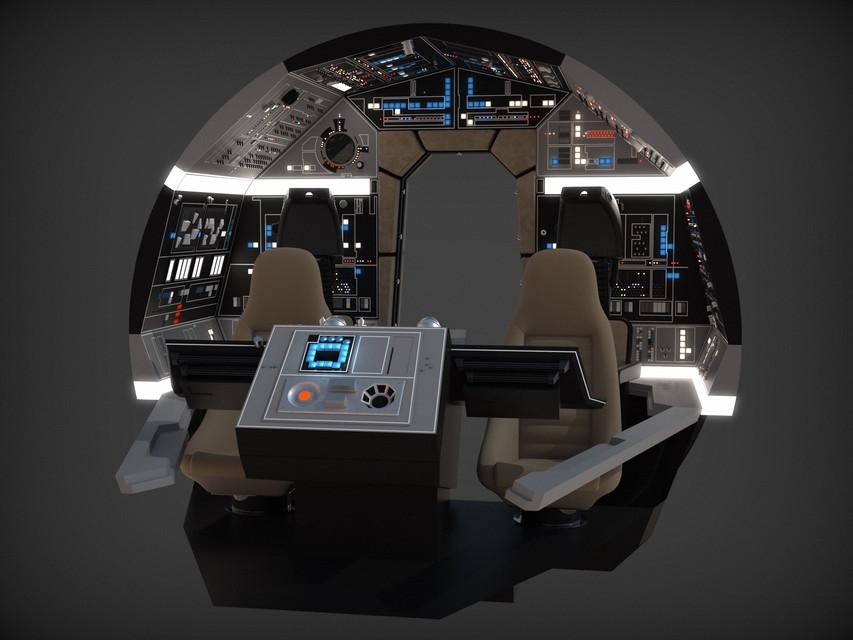 Millennium Falcon: Cockpit Bulkhead Full Detail | 3D CAD Model