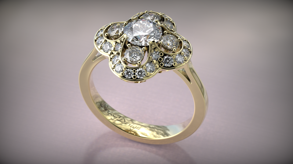 Halo flower ring | 3D CAD Model Library | GrabCAD