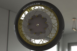 Front Motorcycle spoked wheel with tyre