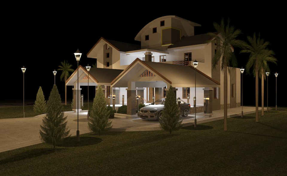 Kerala House Design 3d Cad Model Library Grabcad