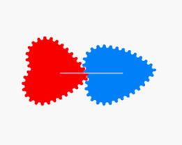 Love gears (External-rotation ratio 1/1)