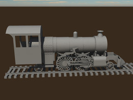 2-4-2 steam locomotive and narrow gauge (3 foot ) tracks