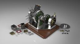6 Cylinder Radial Engine & Pump