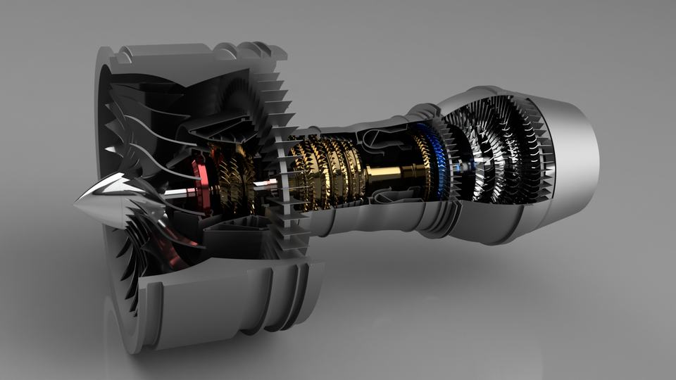 Pratt & Whitney Turbofan Engine | 3D CAD Model Library | GrabCAD