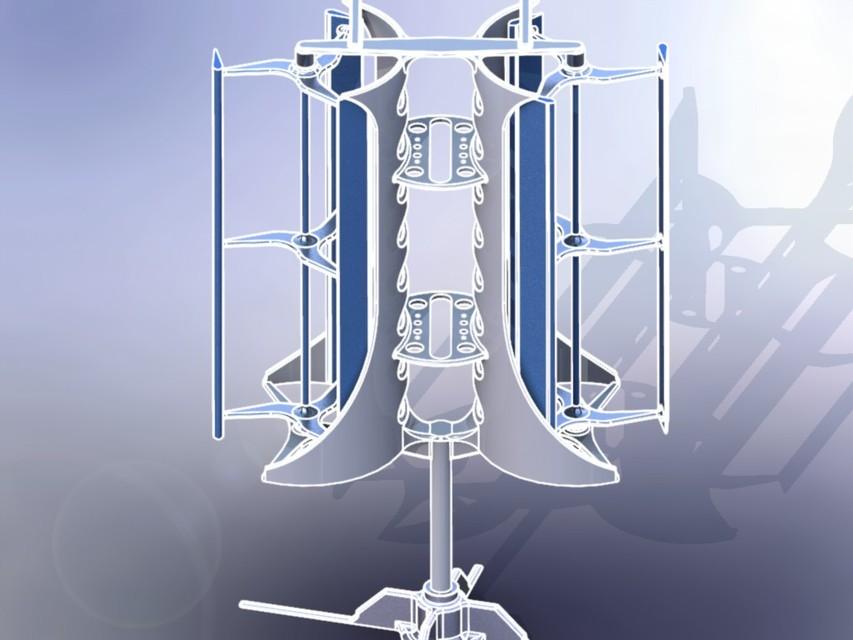Vertical Axis Wind Turbine (VAWT) | 3D CAD Model Library | GrabCAD
