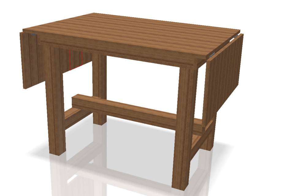 Side Flap Folding Kitchen Cutting Table | 3D CAD Model ...