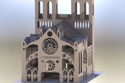 Notre Dame Cathedral sheet metal puzzle, 3d model, puzzle, sheetmetal, metalcraftdesign