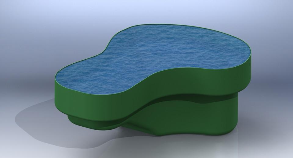 Fish pond molded plastic solidworks 3d cad model for Koi pond mold
