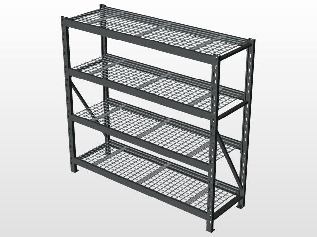 4-Tier Steel Wire Shelving Unit | 3D CAD Model Library | GrabCAD