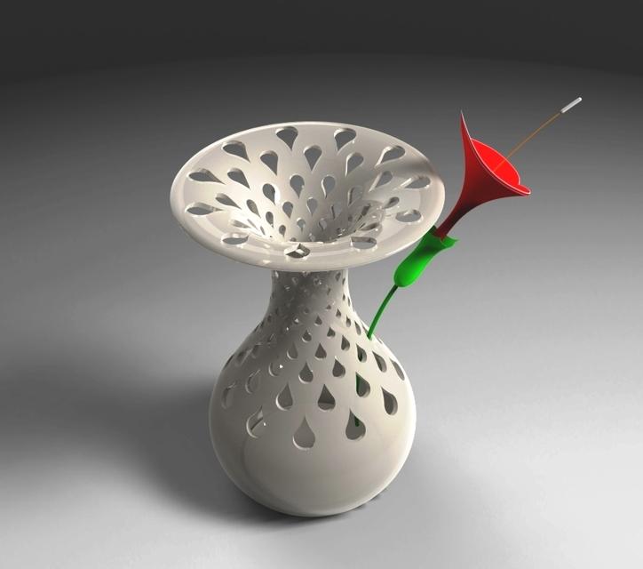 Flower Vase Decoration - STEP / IGES,STL,Autodesk Inventor - 3D ...