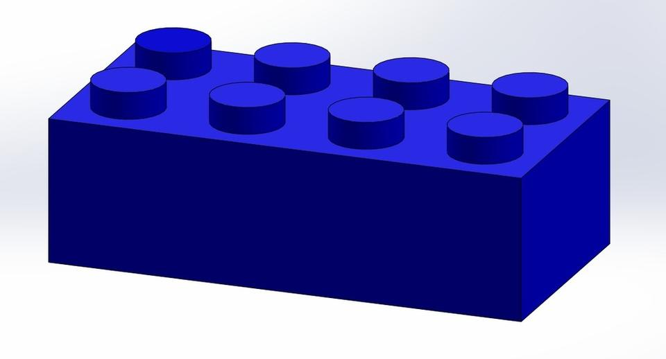 Lego Brick (2x4) | 3D CAD Model Library | GrabCAD