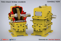 Two-stage worm gearbox