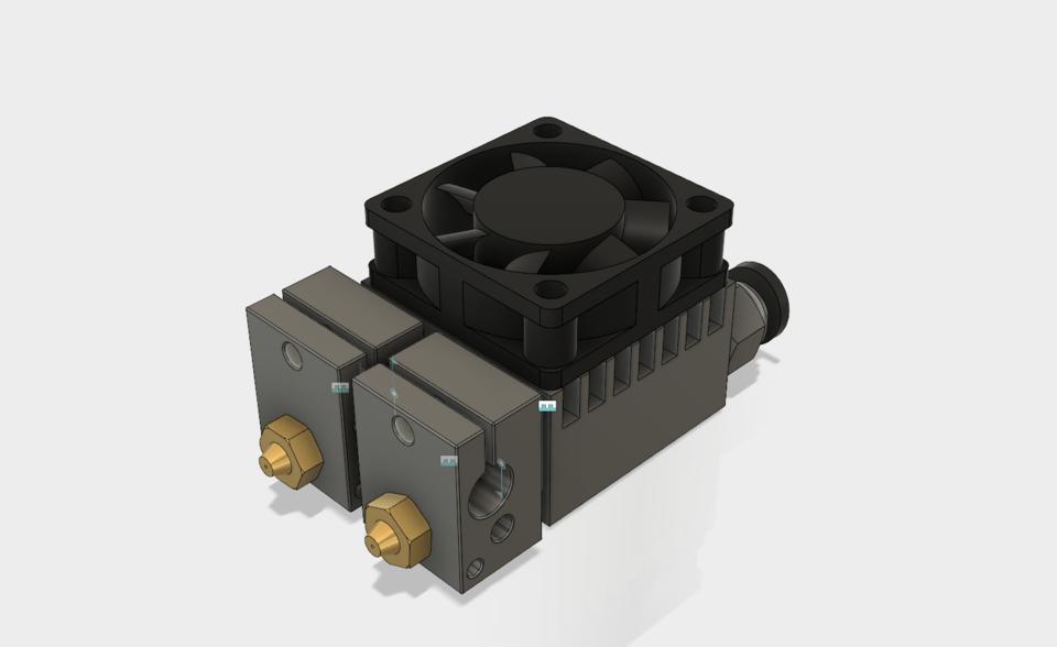 E3D Chimera Hotend w Fan   3D CAD Model Library   GrabCAD