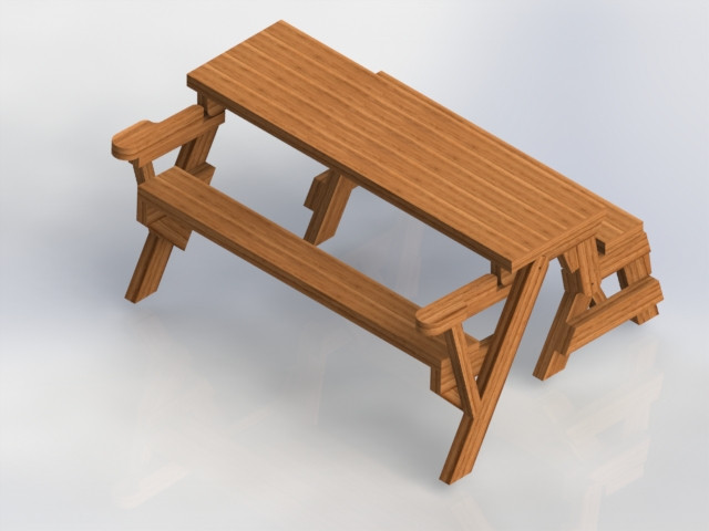Folding Bench Picnic Table Combo Solidworks 3d Cad Model Grabcad