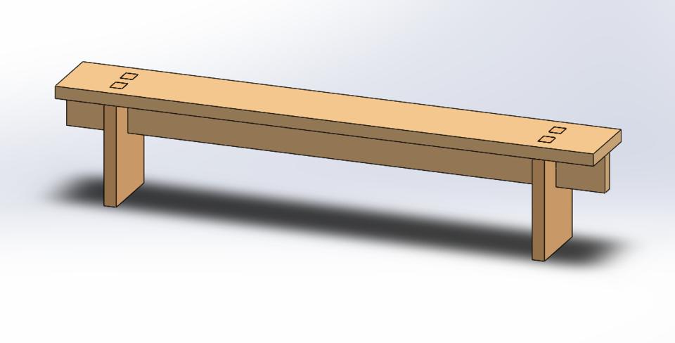 Sensational Wooden Bench 3D Cad Model Library Grabcad Ibusinesslaw Wood Chair Design Ideas Ibusinesslaworg