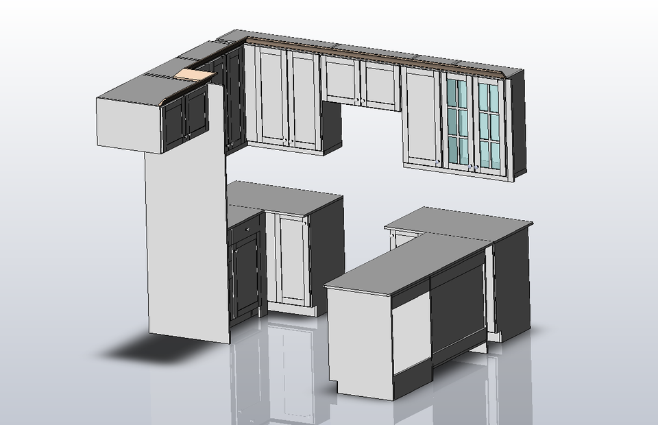 Kitchen cabinet sw 2010 step iges stl solidworks for Autocad kitchen cabinets