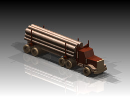 Wooden Logging Truck Model