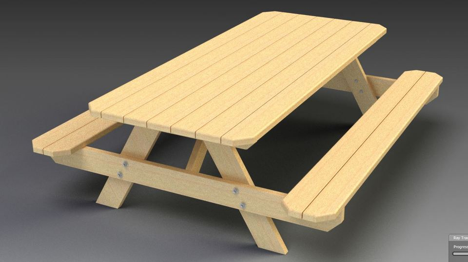 picnic table bench step 3d cad model grabcad
