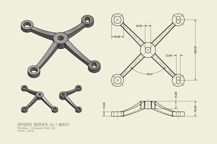 4 1 Way Spider Fitting Point Fixed Autocad Autodesk
