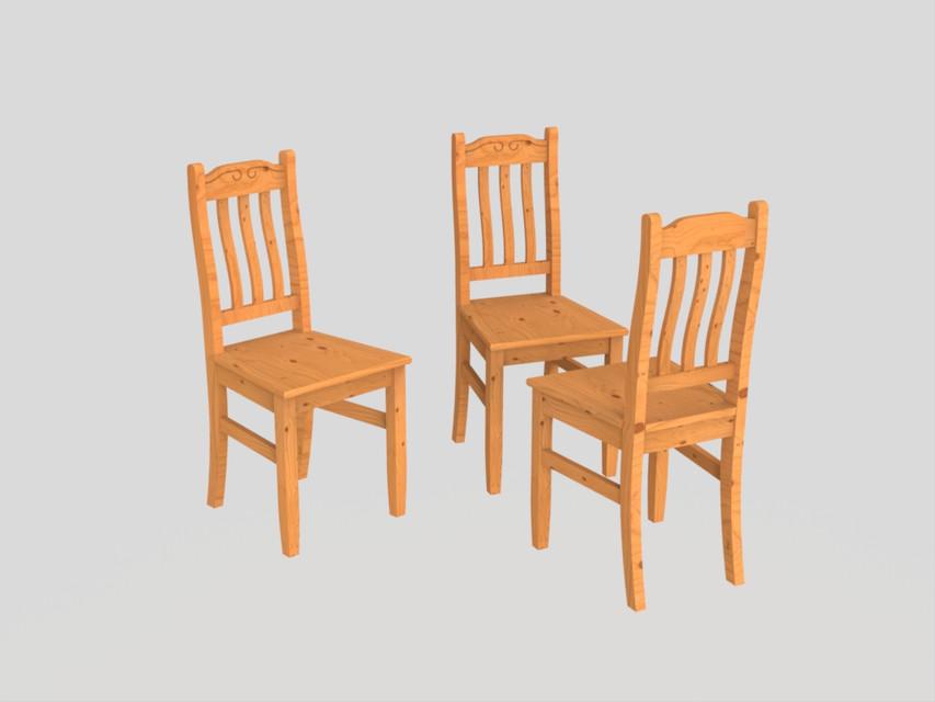 Chaise de salon ou cuisine en bois | 3D CAD Model Library | GrabCAD