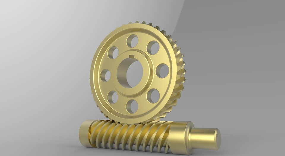 Worm and worm gear | 3D CAD Model Library | GrabCAD